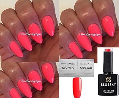 Bluesky A74 Bright Neon Pink Coral Rose Nail Gel Polish UV LED Soak Off 10ml PLUS 2 Luvlinail Shine Wipes