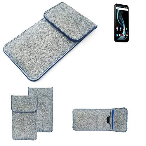 K-S-Trade® Filz Schutz Hülle Für -Allview X4 Soul Infinity Plus- Schutzhülle Filztasche Pouch Tasche Case Sleeve Handyhülle Filzhülle Hellgrau, Blauer Rand