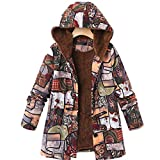 Damen Winter warme Dicke Plüsch Mantel Jacke Blumendruck mit Kapuze Vintage Mantel