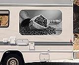 3D Autoaufkleber Kaffee Bohnen Coffee Sack Küche schwarz weiß Wohnmobil Auto Fenster Motorhaube Sticker Aufkleber 21A195, Größe 3D sticker:ca. 161cmx 96cm
