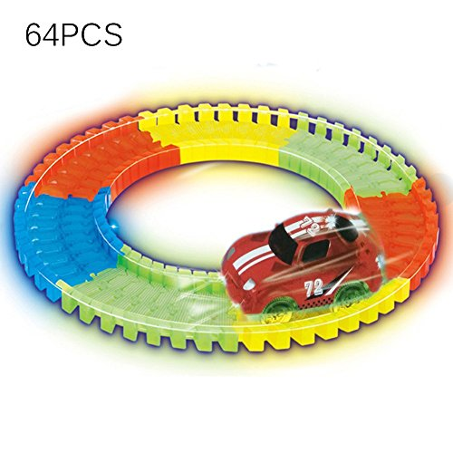 MIGE 64 Stück Flexible Variable Tracks Leuchten im Dunkeln die Bend Flex der neon track bendable versammlung track rennserie (Rot)