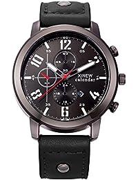 BIAOSHOU® Reloj Moda movimiento Calendario Espejo De Cristal Ordinario Hombres Shi Ying Relojes Correa De Cuero , Deep Blue