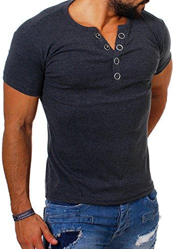 Young & Rich Herren Uni feinripp T-Shirt mit Knopfleiste & tiefem Ausschnitt deep V-Neck einfarbig big buttons große Knöpfe 1872, Grösse:XXL;Farbe:Dunkelgrau
