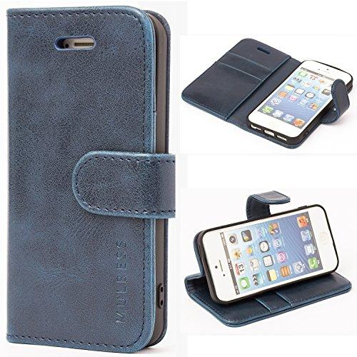 Mulbess Ledertasche im Ständer Book Case / Kartenfach für Apple iPhone SE / 5S / 5 Tasche Hülle Leder Etui,Dunkelblau