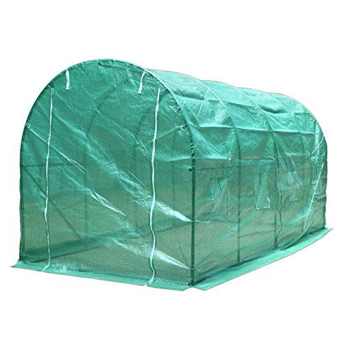 Femor 6m²/8m² Foliengewächshaus Tomatenzelt , Größenauswahl, UV- und witterungsbeständig,Grün (400*200*200cm)