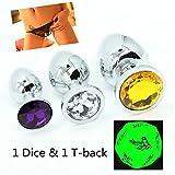 Giocattoli per Voi 3 pezzi di gioielli in acciaio inossidabile metallo placcato & 1 Dodecahedron Dadi & 1 T-back immagine