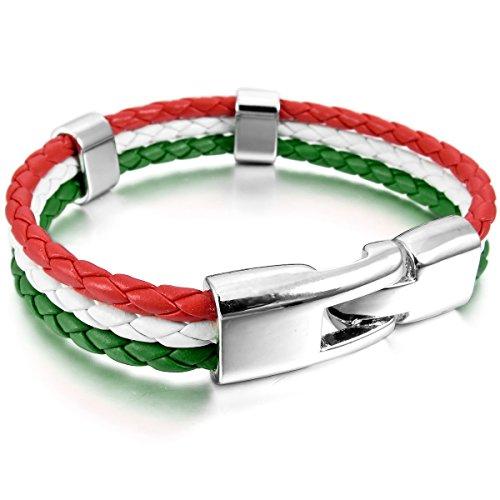 MunkiMix Alliage Cuir Bracelet Bracelet Menotte Allemand Espagne Italien Français Brazil Drapeau Homme,Femme Blanc