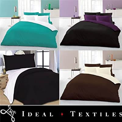 4PC Reversible Complete Duvet Cover + Fitted Sheet Bedding Set Single Teal White - inexpensive UK light store.