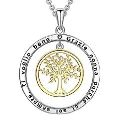 Idea Regalo - LOVORDS Collana Donna Incisa Argento Sterling 925 Pendente Ciondolo Albero della Vita Famiglia Cerchio Regalo Nonna