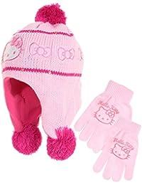 Mütze peruanischen und Handschuhe Kinder Mädchen Hello Kitty schwarz, grau und rosa von 3bis 9Jahre