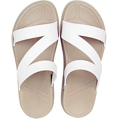 MAYI Damen Sommer Outdoorsandalen Flach mit Z-Form Reimen Peep-Toe Strandschuhe