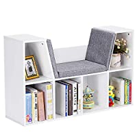 COSTWAY 6-Cube Kids Bookcase, Wooden Display Shelving Unit Organizer with Cushioned Reading Nook, Multi-Functional Storage Shelf Cabinet