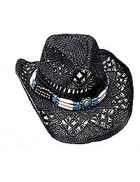 Cappello Di Paglia Cappello Da Cowboy Western cappello nero con cappello  Band Line Dance (52 3e0eda6d1c1f
