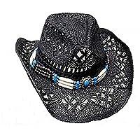 Cappello di paglia cappello da cowboy Western cappello cappello nero con fascia per cappello Line Dance (52–56)