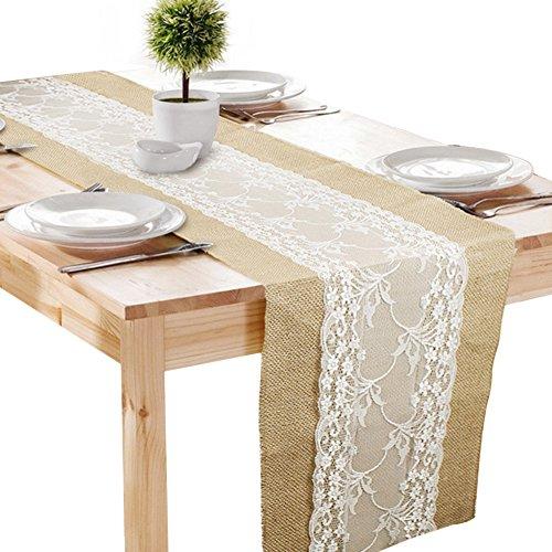 Jute Tischläufer Tischband Vintage mit Spitze Sackleinen für Hochzeit Party 30 x 275cm (1 Stück)