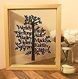 Stammbaum viele Namen personalisierte schwimmende Bild gerahmte Papier geschnitten - einzigartige kundenspezifische Haus Geschenk Familie Foto Frame gedruckt ausgeschnitten