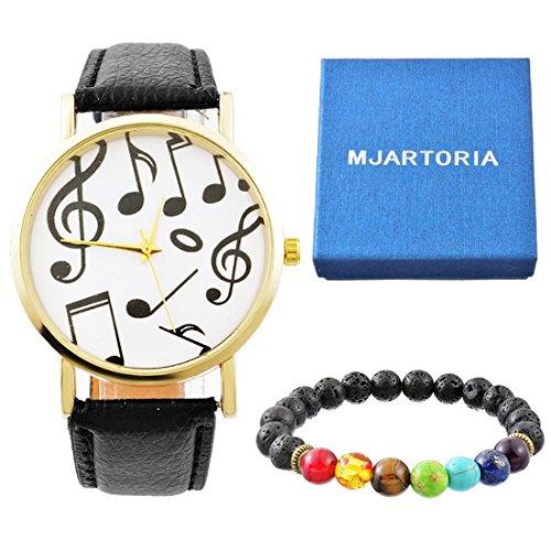 MJartoria Damen Mode Uhr set Retro Streifen Armbanduhr plus 7 Bunt Lava Stein Armband mit feiner blauer Schachtel (Feinen Streifen Schwarzen)