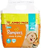 Pampers - Sleep & Play - Couches Taille 4 (8-16 kg) - Jumbo Pack (x70 couches)