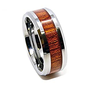 8mm Tungsten Carbide Wedding Band with Inlaid Wood Grain Design Size Z+1