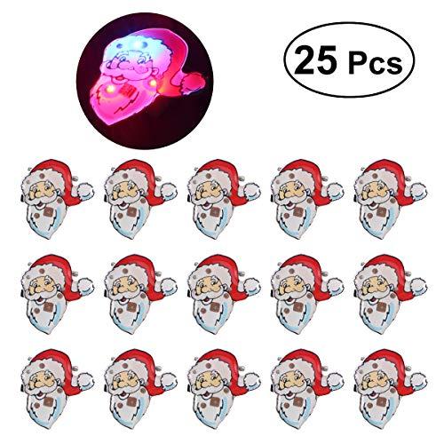 Tinksky Weihnachtsbrosche Pin Set beleuchtet Weihnachtsmann Geschenk Tasche Abzeichen Brosche mit LED-Licht für Kinder Geschenk 25Stk