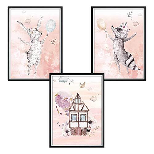 3er-Set DINA4 Poster für Kinderzimmer, Kinderposter, Druck, Wandbilder, Kunstdruck für Bilderrahmen, Baby Poster, Kinder Bilder, Bilder Babyzimmer