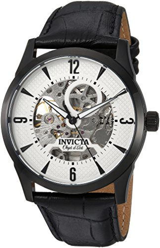 Invicta Men's 'Objet d'Art' Automatic Stainless Steel and Leather Casual Watch, Color:Black (Model: 22639) image