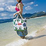 Beach Bag, ZeWoo Canvas Travel Tote Bag, Oversized Shopping Shoulder Bag, Rope Handle Handbag with Zip for Ladies and Girls (Green)