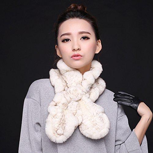 feieb Bavaglia sciarpa in lana e il processo fazzoletto da collo pelliccia invernale in Old (Dragonfly Crema)