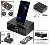 Smart Dual Alarm Clock Speaker Dock with FM Radio, Bluetooth & ROTATING Dock