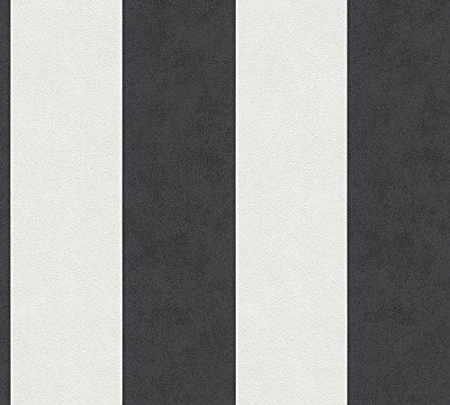 A.S. Création Vliestapete Memory 3 Tapete mit Blockstreifen 10,05 m x 0,53 m creme schwarz Made in Germany 329905 32990-5 (Schwarz Tapete Creme Und)