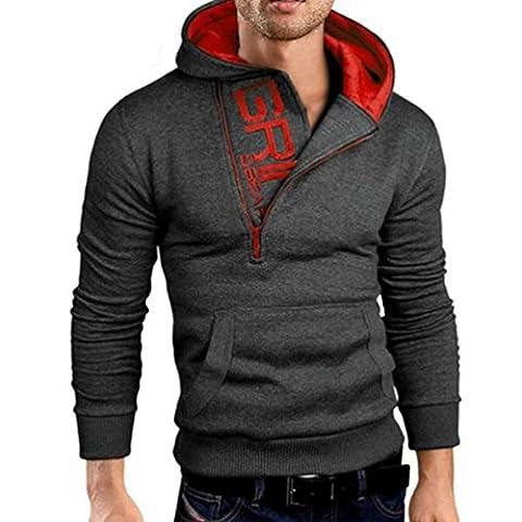 Tonsee Homme manches longues zippé Sweat capuche veste manteau chaud vêtement (Asie XXL, Gris foncé)