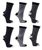 C&C Damen Socken,6 Pack,35/38,Schwarz/Weiss