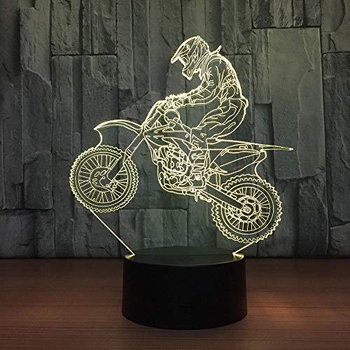 3D Motocross Fahrrad Nachtlicht 3D Tischlampe USB 7 Farbsensor Touch Tischlampe als Weihnachtspreis für das Geschenk des Sportlers