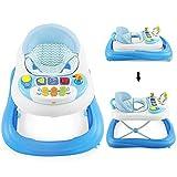 Sotech - Trotteur bébé évolutif musical, Trotteur bebe, pour les bébés de 6 à 18 mois, hauteur réglable, siège et dossier rembourrés souples pour le confort, Bleu