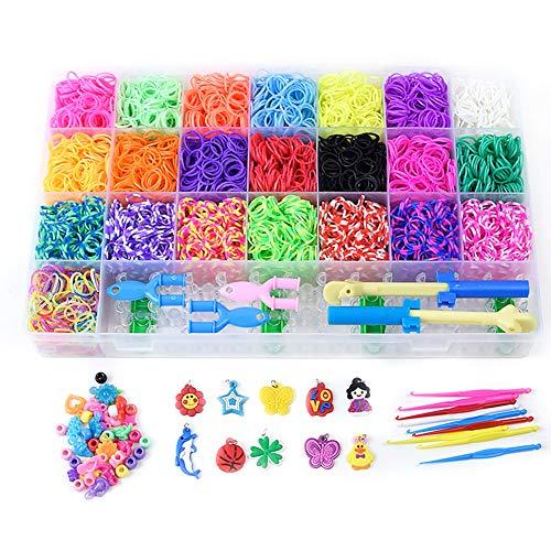 Chantwon Loom Bänder Kit, 6800pcs DIY Gummibänder Loom Bänder Box Loombänder für Armband Halskette (Kit Loom Armband)