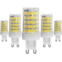 bombillas LED G9 de 10W, Equivalentes a Lámparas halógenas de 70W, Blanca fría 6000K, 700lm, Ángulo de Haz de 360°, AC 220-240V, No Regulable, Pack de 5