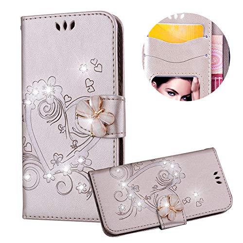 Gold Brieftasche für iPod Touch 5,Strass Handyhülle für iPod Touch 6,Moiky Luxus Liebe Herze Muster 3D Schmetterling Dekor Magnetisch Kunstleder Stoßdämpfende Handytasche mit TPU (Touch Ipod Fällen)