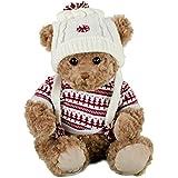 Bukowski oso Lorenzo, 25cm, color marrón, blanco–Gorro, color blanco/rojo punto Sudadera