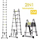 Fixkit Echelle Télescopique Escabeau Telescopique Echelle Pliante Echelle Escamotable en Aluminium 2.6M/3.2M/3.8M/5M (5M Pliante)