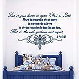 Belle vinyle autocollant de décoration murale Art Stickers muraux citations Bible Verset Psaumes Peter: Mais dans vos coeurs 71x42cm