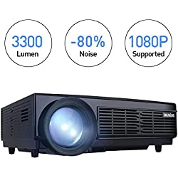Proyector Full HD, Proyectores LED 1080P Proyector Video 3300 Lúmenes T6 Projector LCD Home Cinema Contraste 3000:1 Videoproyector Apoyo 1920*1080 HDMI VGA USB SD para PC TV Juego Hogar PS4 XBOX-Negro