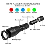 LED Torch Flashlight, Juzihao JM-T6 Super Ultra Bright 1000 Lumens 5 Modes Mini CREE LED Tactical Flashlight Handheld Zoomable Adjustable Focus Torch Water Resistant Portable Camping Torch Light Tactical Flashlight - 2 Pack Rechargeable 18650 Batteries and Charger Included