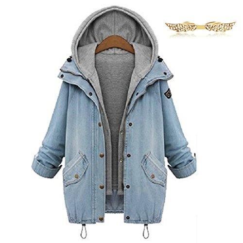 BYD da Donna Casual Giacca Jeans Cappuccio Giacche di Jeans Due in Uno Cappotto Invernale Parka a Maniche Lunghe Corta Tops Outwear