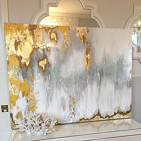 peinte à la main d'origine abstraite moderne Art contemporain Peinture Or blanc Gris Décoration murale Texture illustrations, 32x48inch(80x120cm)