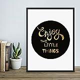 Design-Poster mit Bilderrahmen Schwarz 'Little Things' 30x40 cm mit Goldaufdruck