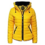 GLAM COUTURE NEW LADIES WOMENS QUILTED PADDED PUFFER BUBBLE FUR COLLAR WARM THICK JACKET COAT - MUSTARD/8
