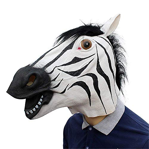 NA Zebra Kopf Latex Maske Vollgesichts Erwachsene Atmungsaktive Halloween Maskerade Kostümfest Cosplay Kostüm Tier Maske (Tier Maskerade Kostüm)