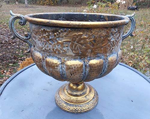 Deko-Impression Großer prunkvoller Übertopf Amphore Pflanztopf Vase Schale Eisen Antik