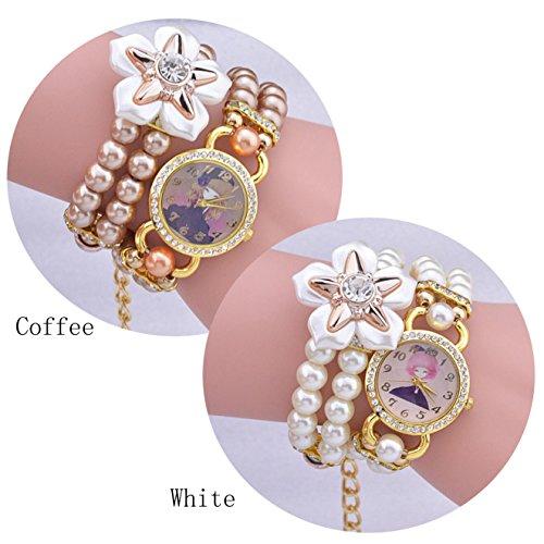 SNHWARE Mädchen Armband Uhren Fashion Cute Perlen Wrap Armbanduhr Persönlichkeit Lady Quarzuhr 2er Pack