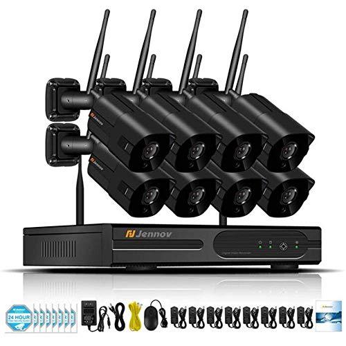 Z-DYQ WLAN Überwachungskamera Set, 8CH Kanal 1080P WiFi NVR Videoüberwachung System mit 8Stk. 2.0MP Wasserfeste IP Kameras Plug & Play Fernzugriff,1TB - In Nacht Cctv-kamera-sicherheitssystem Der